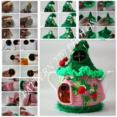 PATTERN PDF Tea house House with flowers Fairy house teapot cosy Crochet berries Aromatic tea cozy Tea cozy Fairy-tale house Strawberries Crochet Fairy, Crochet Home, Knit Crochet, Knitting Patterns, Crochet Patterns, Tea Cozy, Fairy Dolls, Crochet Animals, Crochet Projects