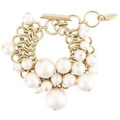 Lanvin pearl detail hoop bracelet ($775) ❤ liked on Polyvore featuring jewelry, bracelets, metallic, metallic jewelry, lanvin jewelry, gold tone jewelry and lanvin