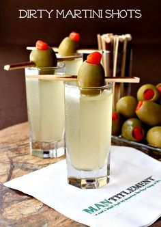 A dirty martini in a shot- great for parties!