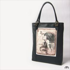 Veľké tašky - WOMAN´S ELEGANCE - Lady With Gramophone (black; size