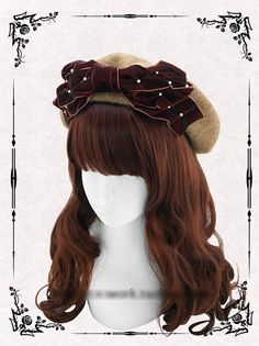 Princess sweet lolita hat 100% wool manual velvet bonnet elegant pearl bow joker baked wheat cake cap berea painter cap-in Berets from Women's Clothing & Accessories on Aliexpress.com | Alibaba Group