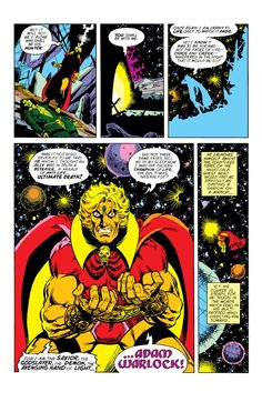 Captain Marvel and Adam Warlock aid the Avengers in their fight against Thanos. The fate of the universe hangs in the balance as the heroes race to destroy Thanos' artificial Soul Gem. Adam Warlock, Fate Of The Universe, Marvel Universe, Jim Starlin, Ghost Rider Marvel, Captain Marvel, Marvel Comics, Avengers, Sci Fi