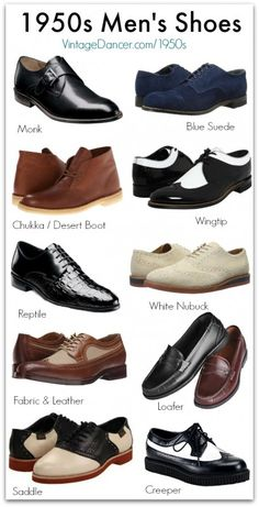 New 1950s Style Men's Shoes. Wingtip, monk, blue suede, desert boots, newbucks, creepers, and more. Shop at VintageDancer.com/1950s
