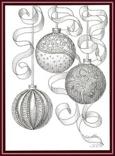 zentangle drawing of Christmas ornaments Zentangle Drawings, Doodles Zentangles, Zentangle Patterns, Tangle Doodle, Zen Doodle, Doodle Art, Christmas Balls, Christmas Colors, Christmas Art