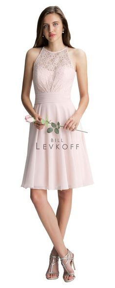 Bill Levkoff Bridesmaid Dress Style 1401 is shown in Petal Pink/Petal Pink and a size 10.