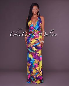 Chic Couture Online - Kiannah Multi-Color Print Plunging V-Neck Maxi Dress, (http://www.chiccoutureonline.com/kiannah-multi-color-print-plunging-v-neck-maxi-dress/)