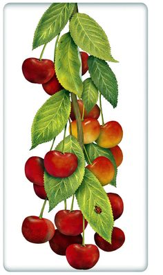 Red Tart Cherries 100% Cotton Flour Sack Dish Towel Tea Towel