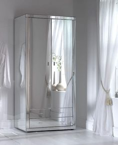 Here we have a stunning mirrored wardrobe from our Romano mirrored bedroom furniture range. A hand crafted Venetian glass mirrored wardrobe Mirrored Bedroom Furniture, Rustic Furniture, Furniture Design, Furniture Ideas, Metallic Furniture, Chest Furniture, Wardrobe Furniture, Furniture Removal, Furniture Movers