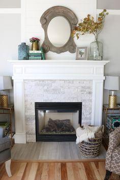 Dark Hardwood Home Fireplace Oak Flooring Natural Stone