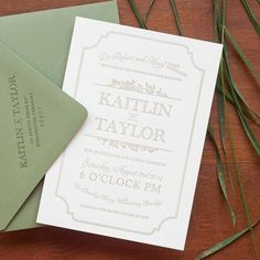 Letterpress is one of the most beautiful ways to go simple. It adds texture, sophistication, and grace without a lot of color or graphics. This gray on ivory with a sage envelope hints at a refined vintage wedding that a guest couldn't possibly decline. | See more delightfully simple wedding invitations here: http://www.mywedding.com/articles/delightfully-simple-wedding-invitations/