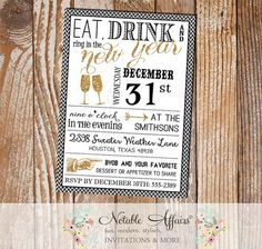Mini Chevron Eat Drink and Ring in the New Year - New Years Eve 2015 Party Invitation - Black White Gold Glitter