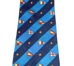 Tommy Hilfiger Mens Tie Silk Necktie Boat Flags Yacht Pennant Navy Blue Red Gold #TommyHilfiger #NeckTie
