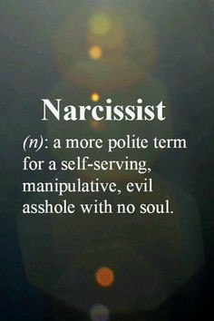 Narcissist: (n): a more polite term for self-serving, manipulative, evil asshole with no soul