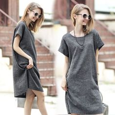 Women Cotton Linen Casual Plus Loose Short Shift Maxi Dress Basic T-Shirt Summer Queen Fashion, Ladies Fashion, Grey Midi Dress, Ebay Dresses, Maxi Dress Wedding, Online Shops, Casual Outfits, Casual Clothes, Beauty