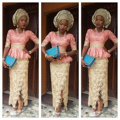 Coral and gold lace gele Nigerian wedding bride inspiration dress skirt