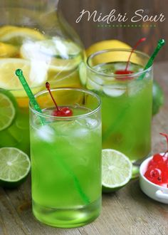 An easy recipe for MIDORI SOUR cocktails! Fruity, fun, and delicious with just a few ingredients! Great for girls night and St. Patrick