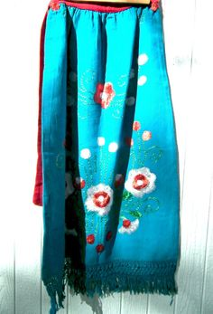 Women's long skirt, Embroidered, handmade, 70's vintage ethnic flowery,  blue cotton, Frida Kahlo mexican artist style. Boho-chic. by zazaofcanada. Explore more products on http://zazaofcanada.etsy.com