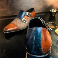 Custom Made Double Monks in Denim Blue and Cognac Marble Hand Patina on Italian Raw Crust Leather with Tweed Sartorial Robert August Apparel is part of Shoes Handcrafted Custom Made Double Monks in - Hot Shoes, Men's Shoes, Shoe Boots, Dress Shoes, Shoes Men, Dress Clothes, Simple Shoes, Casual Shoes, Formal Shoes