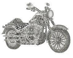 Zentangle Art Photograph - Tangled Harley Davidson Fatboy by Dianne Ferrer
