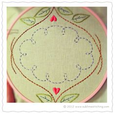 "♥ FREE PATTERN ♥ | Folk frame! Just a trifle. Something you can stitch up (will fit inside an 8"" hoop) and still have room for your own special touch inside. Maybe your favorite word? Maybe another pattern? Make it yours.  x - x - x"
