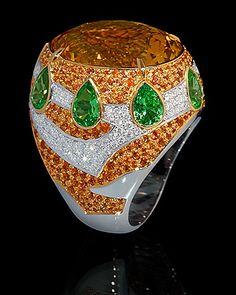 Ring Magrib - buy in Mousson Atelier - White gold, Citrine 15,43 ct., diamonds, orange sapphires, tsavorites