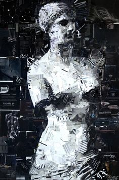 Statesque Statue by Derek Gores - He does to paper as a painter with a brush. http://derekgores.com/collage