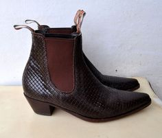 R M Williams V Rare Woven Leather Ankle Boots SZ 8 38 Cuban Heels AS NEW Unisex | eBay