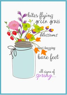 """Signs of Spring"" FREE Downloadable Printable   Mason Jar Printable   CreativeCainCabin.com"