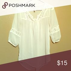 Sheer lace detailed blouse Great condition. If you have any questions, please ask in the comments. And I do accept reasonable offers 😁 rush Tops Blouses