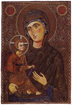 Mary & Child Icon Sinai 13th century. Mary and the child depected as a hodegetria. Tesselated icon in monumental style, early 13th century. ☩