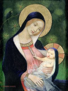 Marianne Stokes Madonna of the Fir Tree print for sale. Shop for Marianne Stokes Madonna of the Fir Tree painting and frame at discount price, ships in 24 hours. Madonna Und Kind, Madonna Art, Madonna And Child, Divine Mother, Blessed Mother Mary, Blessed Virgin Mary, Religious Icons, Religious Art, Religious Christmas Cards
