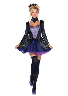 Our Sexy Evil Queen Adult Costume is a great costume for a Halloween party. The Sexy Evil Queen Fairytale Adult Leg Avenue Costume includes waistcoat dress with stay up collar and skirt with glitter scroll