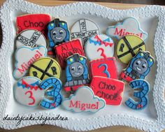 1 dozen Thomas the train cookie collection by daintycakesbyandrea