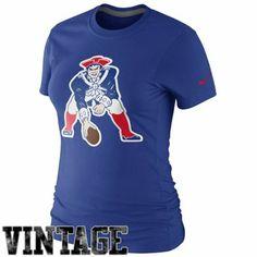 Nike New England Patriots Ladies Retro Basic Logo T-Shirt - Royal Blue