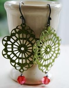 Garden Party Earrings Brass Filigree in Spring Green Crochet Jewelry Patterns, Crochet Earrings Pattern, Crochet Snowflake Pattern, Crochet Accessories, Crochet Necklace, Tatting Jewelry, Lace Jewelry, Textile Jewelry, Jewelry Crafts
