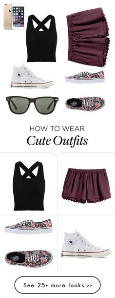 Polyvore featuring Converse, Ray-Ban, H&M and Vans: #cuteoutfits