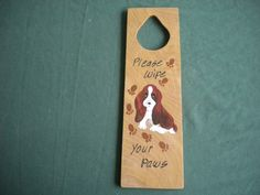 dog door knob holder handmade wooden with a painting of a basset hound and the saying  please wipe your paws by WoodnThingsNY12534 on Etsy