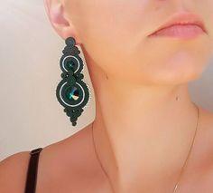 Soutache earrings Studs soutache Orecchini soutache Soutache bilateral Boucles d'oreilles soutache Elegant soutache Emerald soutache