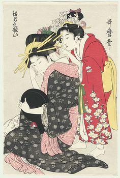 courtesan applying makeup in her boudoir / utamaro / 1750 - 1806