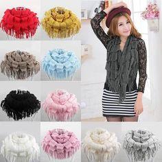 Hot Fashion Women Warm Knit Fringe Tassel Neck Wraps Circle Snood Scarf Shawl