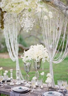 reception wedding flowers, wedding decor, wedding flower centerpiece, wedding flower arrangement, add pic source on comment and we will update it. can create this beautiful wedding flower Crystal Curtains, Beaded Curtains, Wedding Events, Our Wedding, Dream Wedding, Wedding Vows, Wedding Gifts, Wedding Reception, Wedding Dresses