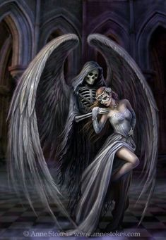 Anne Stokes ~ Angel of Death Grim Reaper Art, Don't Fear The Reaper, Arte Horror, Horror Art, La Danse Macabre, Gothic Fantasy Art, Dark Fairytale, Anne Stokes, Dark Gothic
