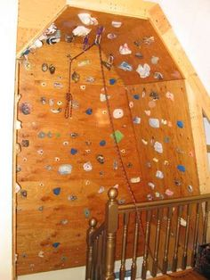 indoor climbing wall at the top of the stairs!!