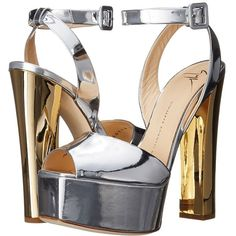 Giuseppe Zanotti Metallic Chunky Heel Sandal Women's Shoes ($795) ❤ liked on Polyvore featuring shoes, sandals, gold, metallic sandals, ankle strap platform sandals, leather platform sandals, chunky heel sandals and thick heel sandals