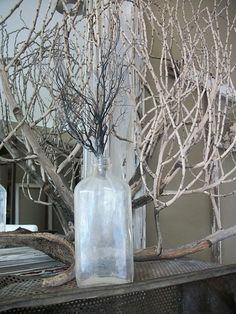I love twigs and bottles.  Like this arrangement.