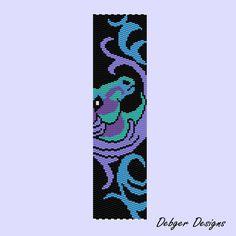 Free Seed Bead Loom Patterns | Horse Design 2 -Peyote Bracelet Cuff by Debger…