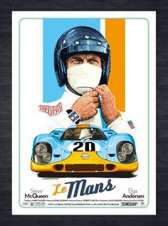 Inspiré par un autre des plus grands films de Steve Mcqueens, Ive a créé cette sérigraphie à la main dessinée numérique illustré mettant en vedette Steve Mcqueen du film Le Mans. Ive a essayé de faire le look impression aussi rétro que possible à regarder comme si il pourrait ont