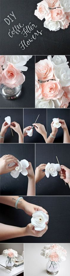 diy wedding centerpieces ideas with coffee filter flowers / http://www.himisspuff.com/diy-wedding-centerpieces-on-a-budget/31/