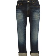 R13 Bowie mid-rise boyfriend jeans ($520) ❤ liked on Polyvore featuring jeans, blue, rock and roll jeans, relaxed jeans, faded blue jeans, leather jeans y rock n roll jeans