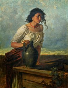 Artist : Carl Leopold Müller (German, 1834 - Title : Young Gypsy woman at the well Medium : oil on canvas Dimensions : 100 x 75 cm. Classic Paintings, Old Paintings, Beautiful Paintings, Renaissance Paintings, Renaissance Art, Mode Poster, Virtual Art, Classical Art, Old Art